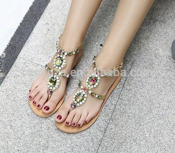 dd89ac5760cca0 beachwear women beaded flat sandals