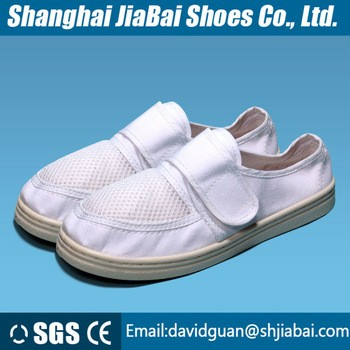 Antistatic white cleanroom shoes PVCPU outsole workman upper is Cotton canvas and sandwich