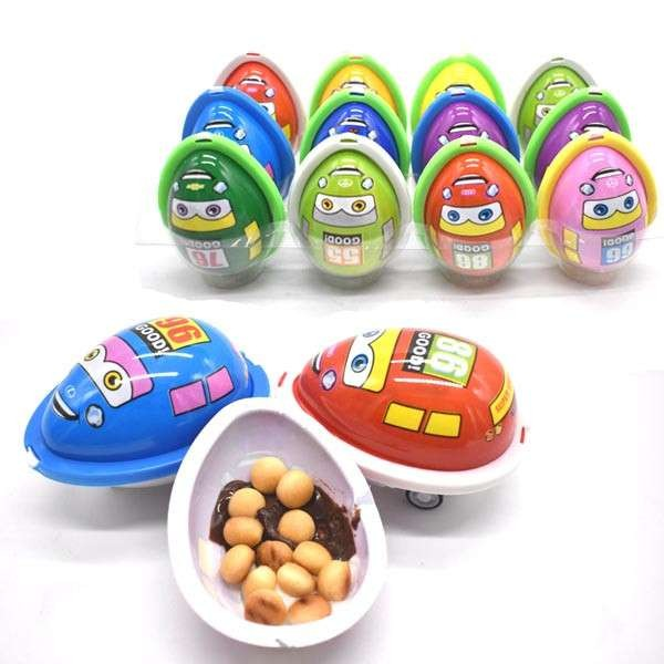 HALAL racing Car Shape Chocolate Egg with Biscuits