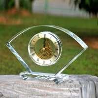Engraved Blank Crystal Desk Clock Home Decoration Manufacturer