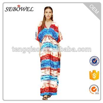 8d3337384014 Multicolored Tie Dye Print Cotton Kaftan Dress