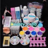 12 Color UV Gel Polish Nail Art Tips Glue Brush Manicure Tools DIY Kit Set
