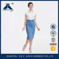 Classical Knee Length Denim Embroidered Women Skirt Manufacturer