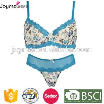 4c3b3b338b Blue Leaves Print 34 Cups Bra Penty Bra Set Woman Underwear From Shantou  Joymei Underwear Industrial Co.