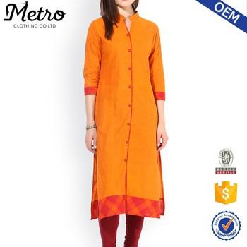 73022e93cb029 special design Cotton plain Orange long Kurta ladies