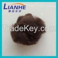 dope dyed solid dry recycled brown color polyester fiber Manufacturer