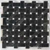 Basketweave nero margiue marble mosaic tile Manufacturer