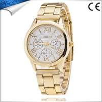 Geneva Men Watches Gold Stailess Steel Roman Numerals Analog Quartz Wrist Watches GW026