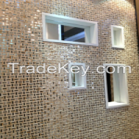 Golden stainless steel mix stone mosaic tile  Manufacturer
