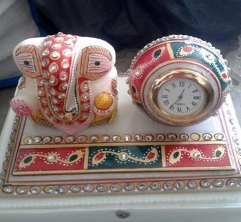 Indian Handmade Marble Painted Round Clock and Ganesha Statue