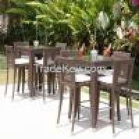 Skyline Designs Rattan Outdoor Madison Square Bar stools and Table Set Posh Garden Furniture  Manufacturer