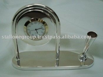 SILVER TABLE CLOCK PEN STAND