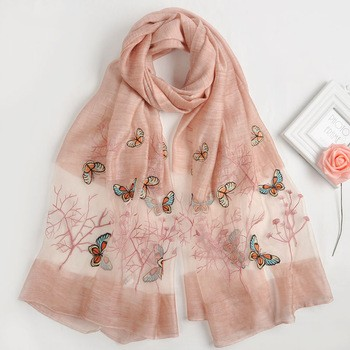 The butterfly designs women magic head embroidered indian silk acrylic blend pareo voile scarf shawls