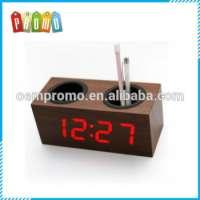 Gift Set Multifunctional Pen Container Wooden LED Desk Clock