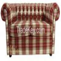 Chesterfield Arnold Wool 2 Seater Sofa settee Fernie Red Tweed Check Manufacturer