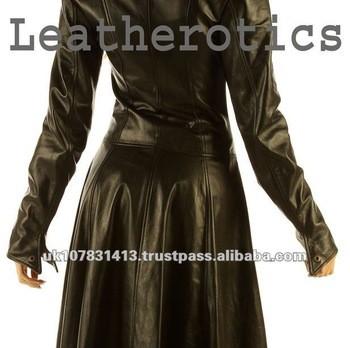 Ladies Leather Full Length Dress Coat Burlesque Alternative Clothing