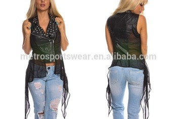 e8fa8d8d2ead7 Black Faux Leather Zipper Asymmetrical Waist Fabric women Vest