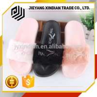 embroidered ladies plush upper slipper Manufacturer