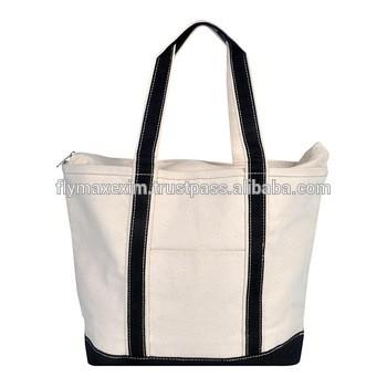 3acca7266e Large eco canvas stripe zipper boat tote bag your