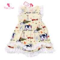 Ivory Farm Cow and Fresh Milk Printed Princess Girls Hem Ruffled Dresses