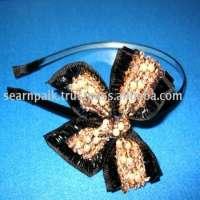 headband of spangle & bead woven ribbon ivory
