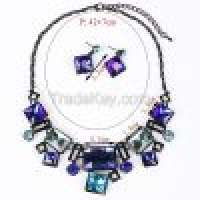 Stained glass square necklace square rectangle earrings Sets MD1415 Manufacturer