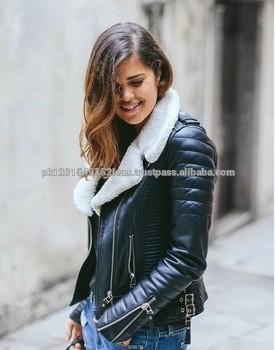 Leather Fur Biker Coat Women leather Jacket