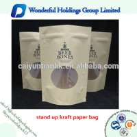 coffee or nuts packaging bag resealable doypack pouch kraft paper bag window and zipper Manufacturer